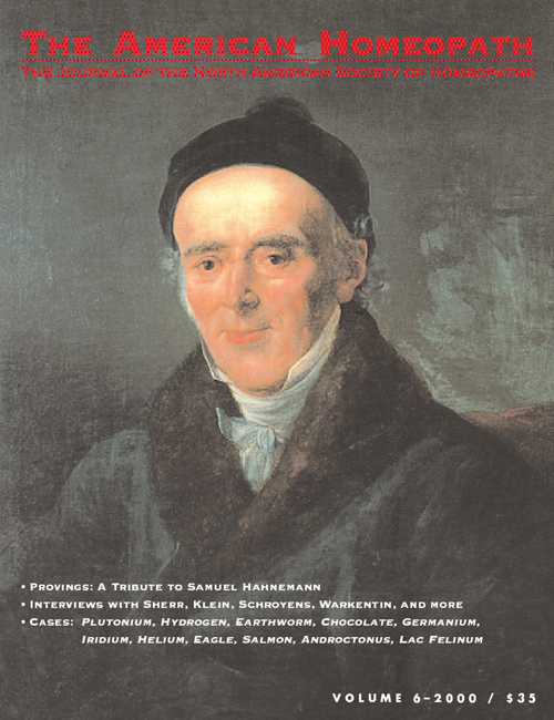 Volume 6 | 2000 - Samuel Hahnemann Issue